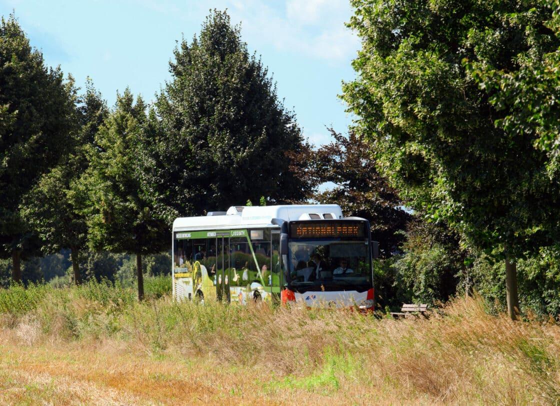 Zu sehen ist ein Bus auf dem Land