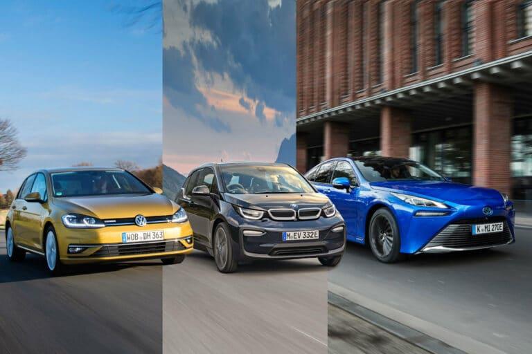 Zu sehen ist die Fahrzeuge VW Golf 1.5 TSI, BMW i3 und Toyota Mirai