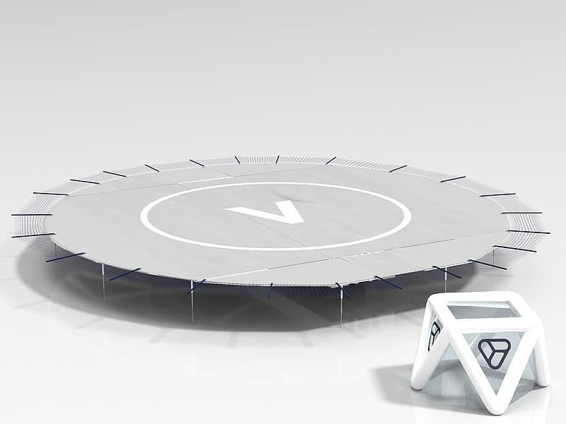 Ein Landeplatz für Drohne auf weißem Grund